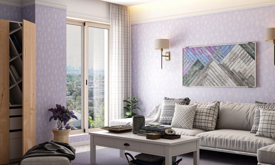 Two colour combination for living room furniture with purple & white and living room wall colors with grey and white