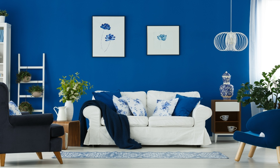 Colour combination for living room where blue and white are works brilliantly