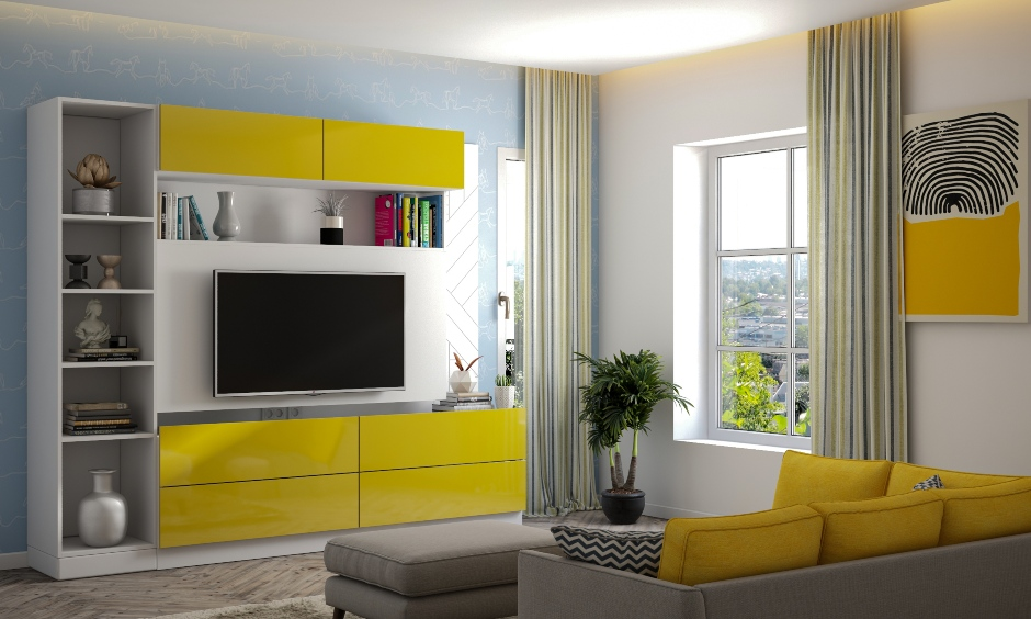 Colour combination for living room with pale blue skies cotton wool clouds and cheerful yellow sun