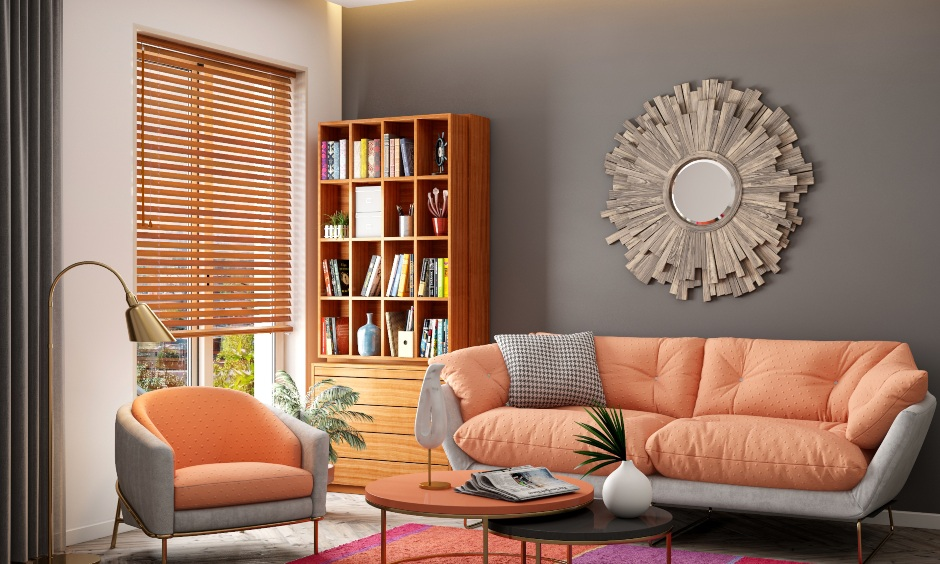 Colour combination for living room with pops of orange add joy warmth and sunshine to colour combination for living room