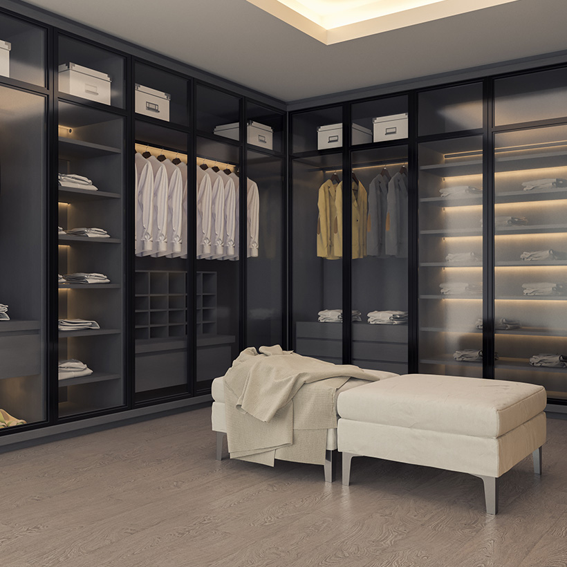 Dressing room wardrobe design with glass doors spell luxury, class and style