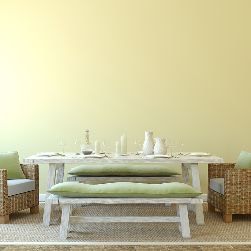 Dining room ideas for your home with a simple design of small sofa's chairs with a small cushion made up of wood.