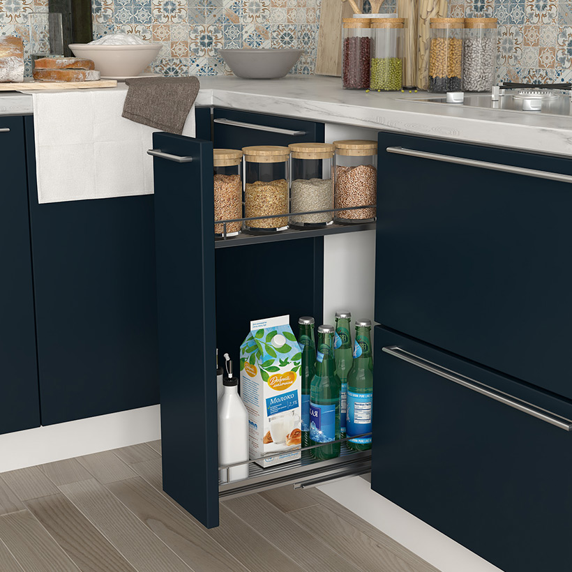 Select a pull-out pantry proportionate to the space is the best space saving idea for small kitchen