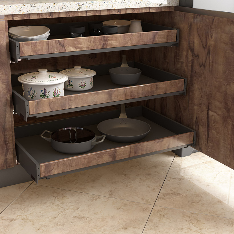 Kitchen space saving idea with classic laminated cabinets and add depth to your small kitchens