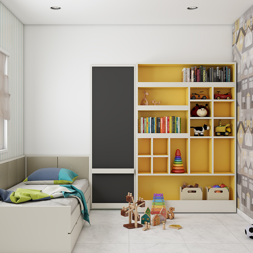 Wall showcase design for kidsroom to store toys, books and more in a simple modern kidsroom.