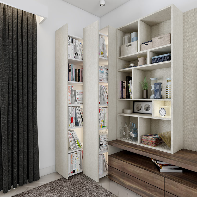 Wooden Maze showcase designs for walls designed with pull out tall units are modern living room showcase designs