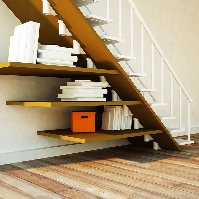 Bookshelf under stairs is the good idea to utilise space under your staircases for small spaces