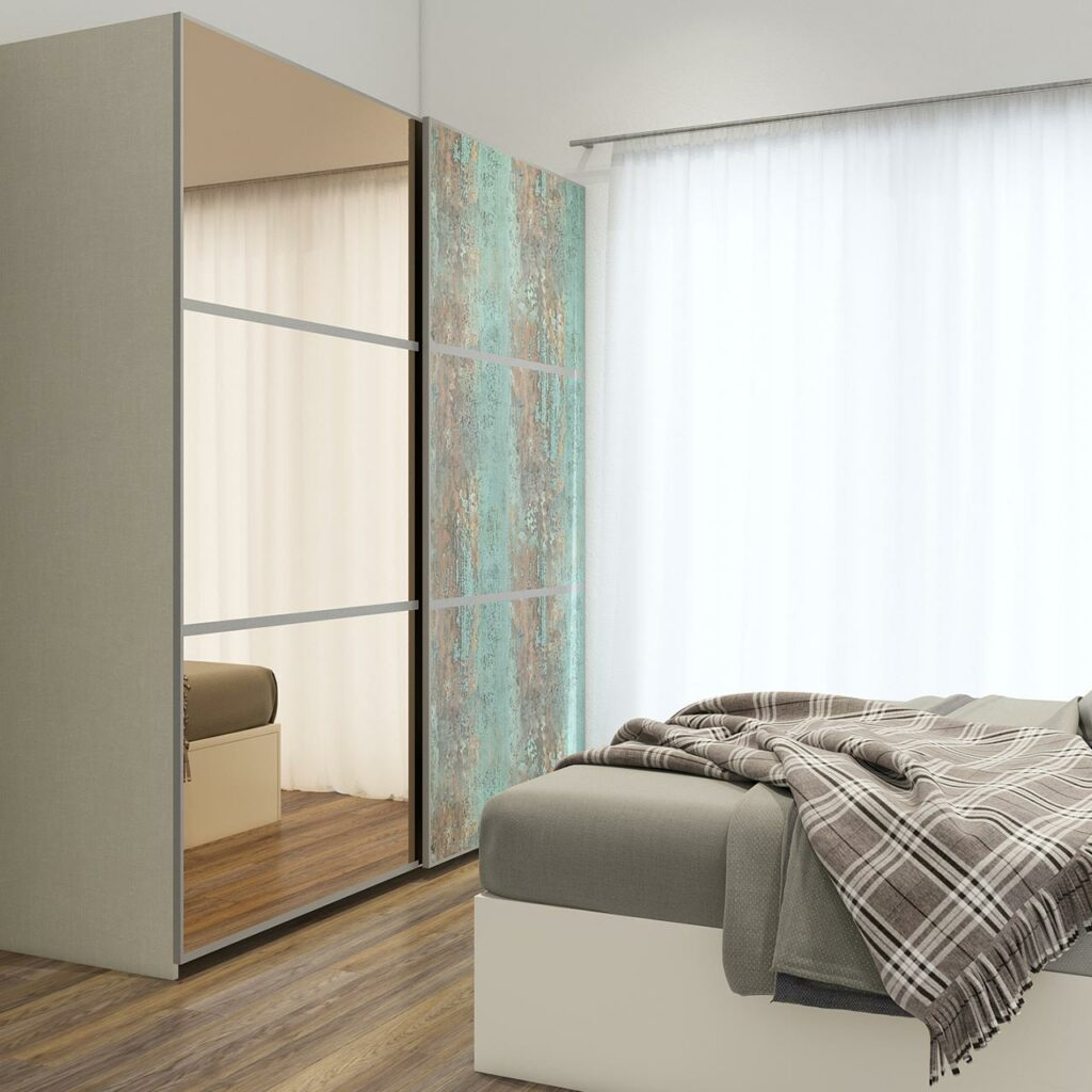 Latest wardrobe designs with sliding wardrobes with mirror for bedroom by using a rustic finish