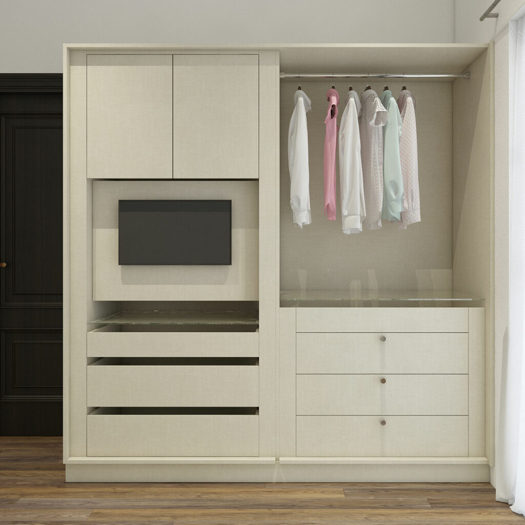 Wooden wardrobe designs for bedroom with space for hanging clothes is the latest wardrobe design