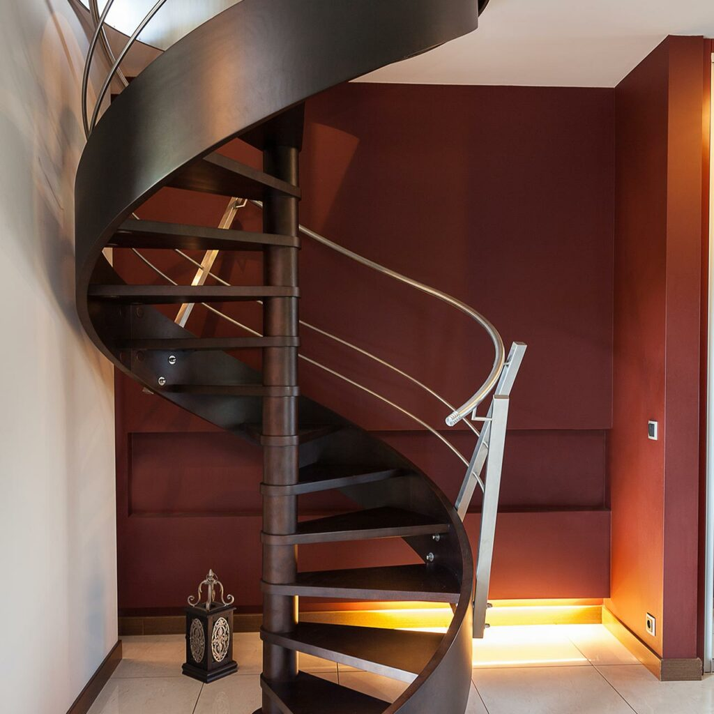 Spiral staircases can be placed inside your home
