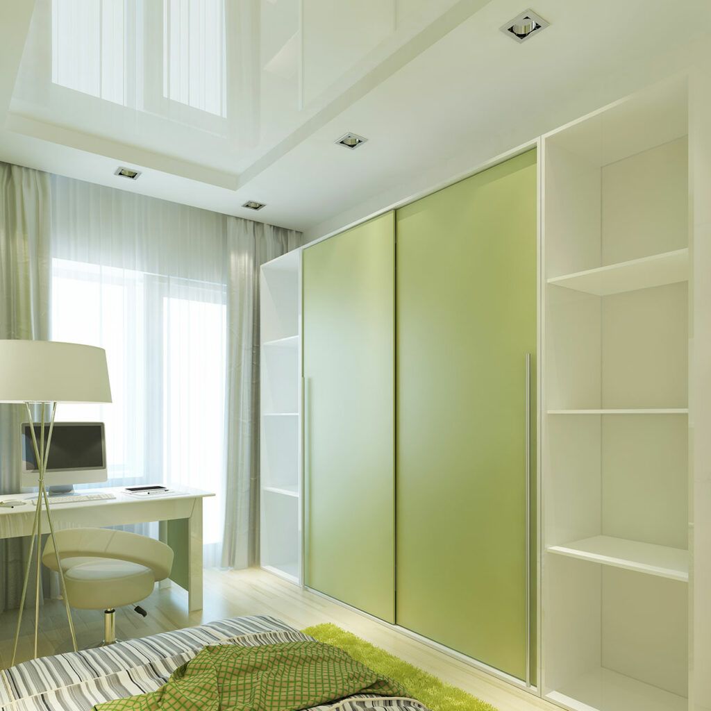 Green sliding wardrobe is the latest trending sliding wardrobe design for bedroom 2020