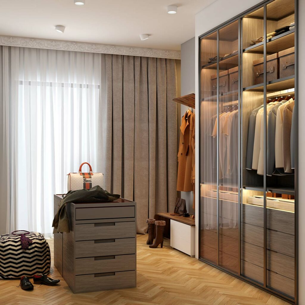 Using glass sliding wardrobe doors to design beautiful sliding wardrobes