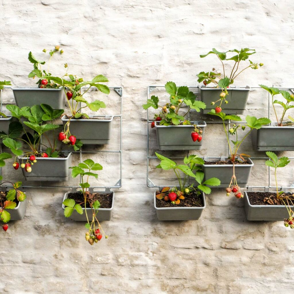 Plants and pots hanging in the balcony in a vertical design which is a good idea for vertical garden balcony