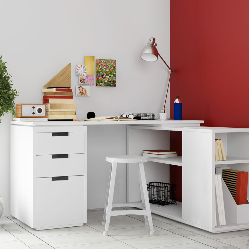 Study room designs for small spaces by using corner desk in a small study room makes best use of space available