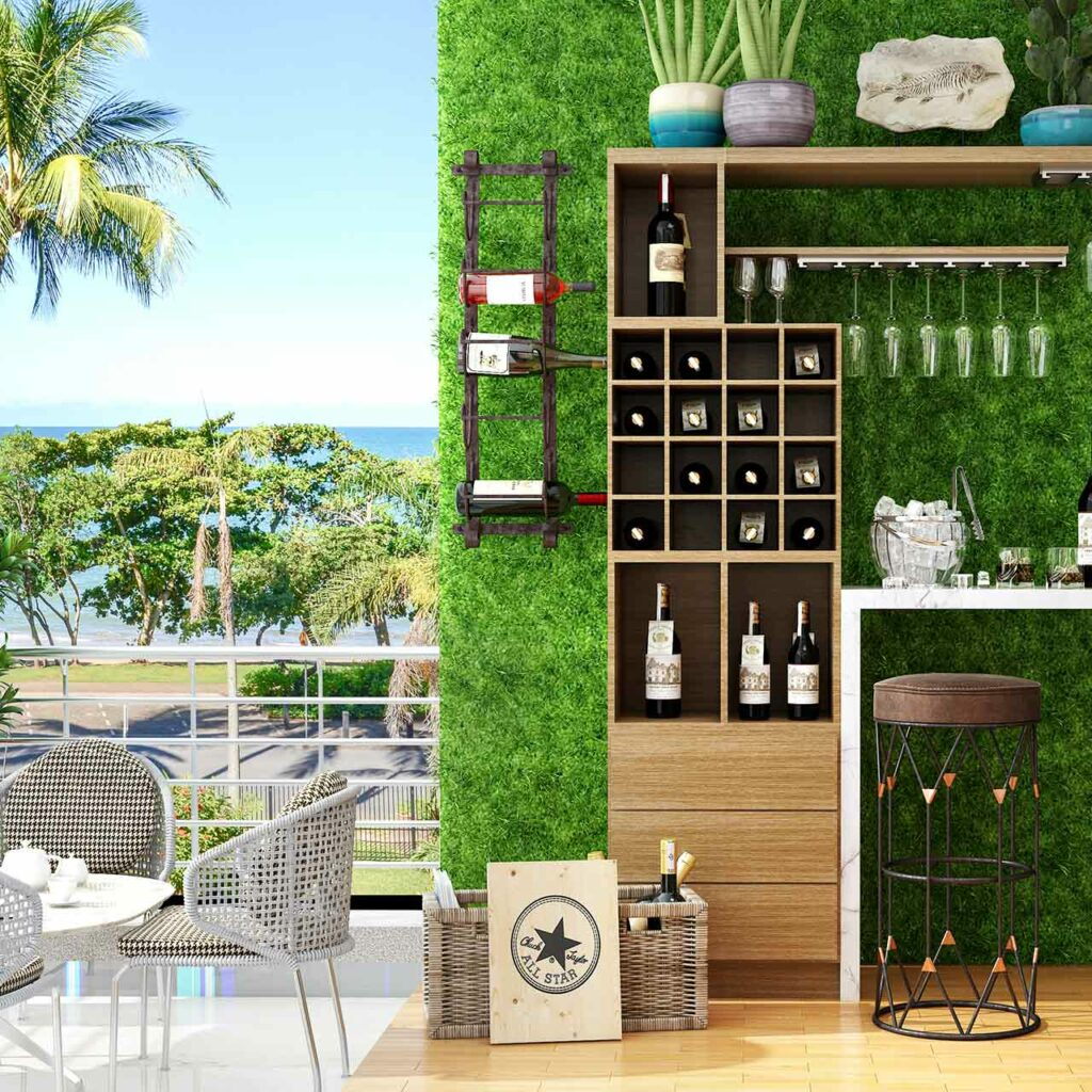 Balcony design for homes with tiny bar counter set up for indian balcony designs