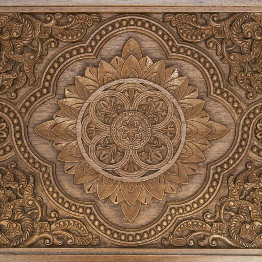 Mandir design for home with carved design on wood by craftsmen which shows wooden mandir design for home in wood