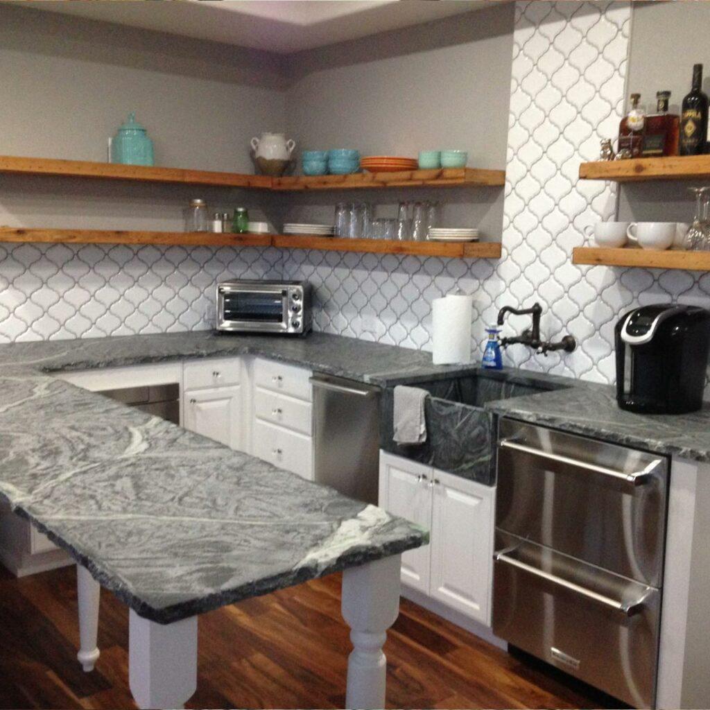 Soapstone Countertops Uses Soapstone Material, White And Black Soapstone Kitchen Countertops Are Popular.
