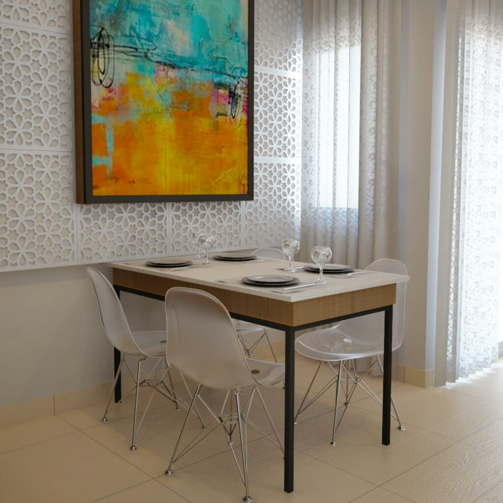 Space Saving Dining Table - Tabletop And Chairs Will Make The Dining Space Look Spacious