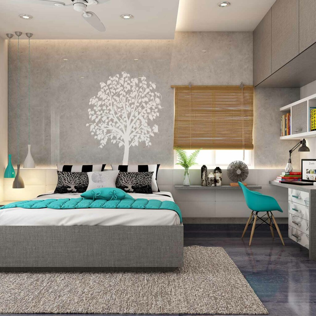 Use false ceiling design for bedroom to zone the sleeping area from the working area