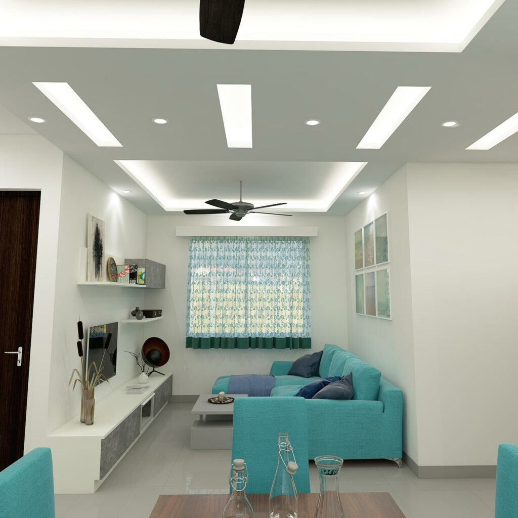 Use different textured shapes that lend interest to living room false ceilings, it is a best false ceiling designs for living room