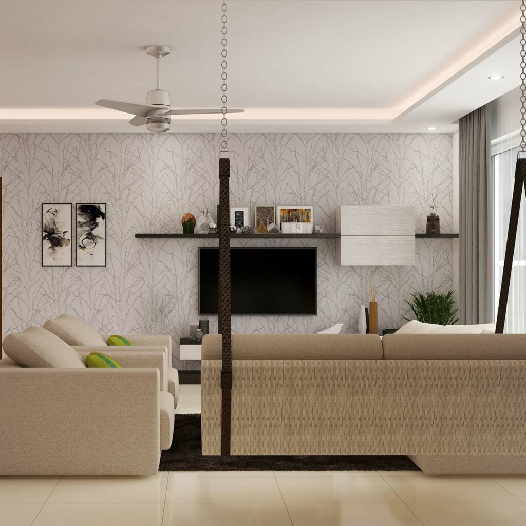 Living room false ceilings often need to fixed with ac piping, sprinklers, smoke detectors with false ceiling designs for living room