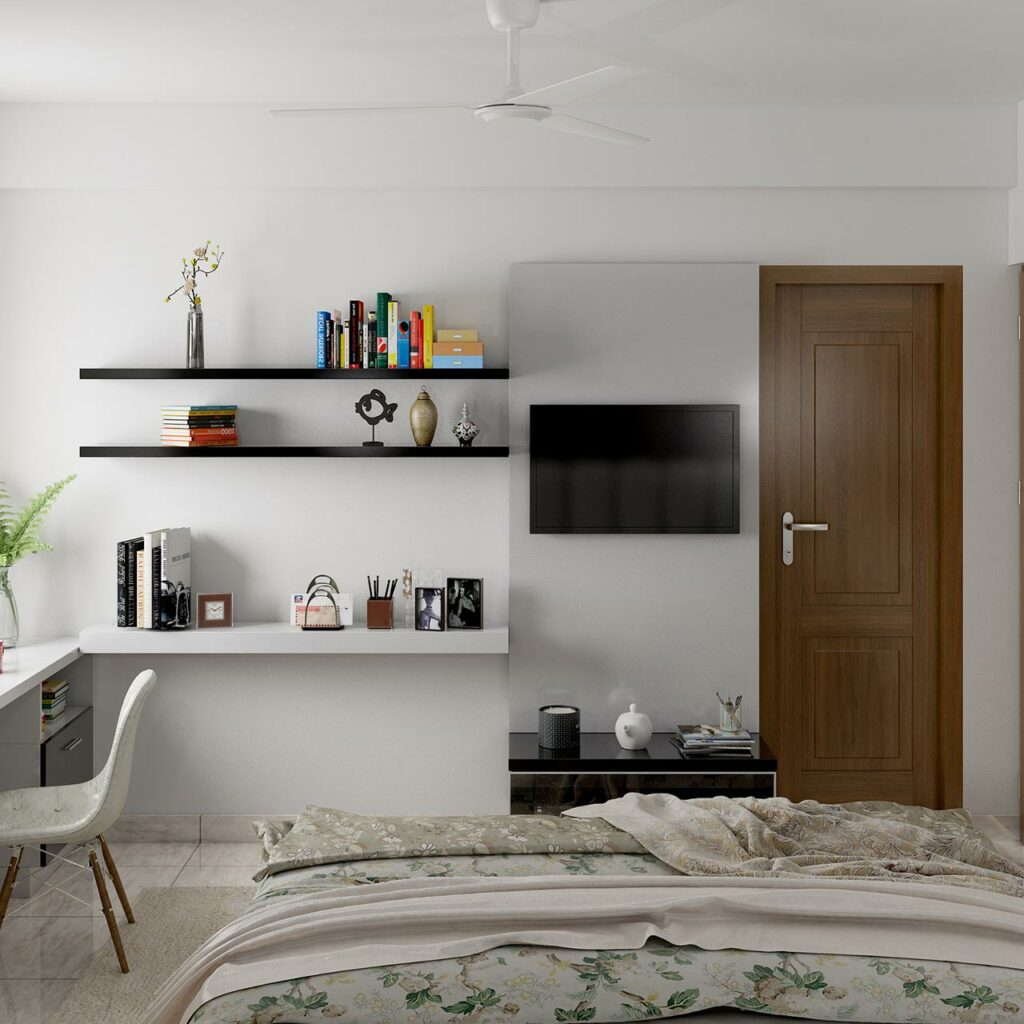 A tv unit design for a small bedroom with a recess and unused corner to make a beautiful small tv unit design