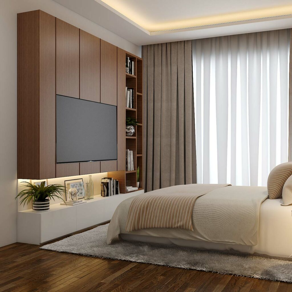 Bedroom tv unit designs to make the tv unit blend well into bedroom decor
