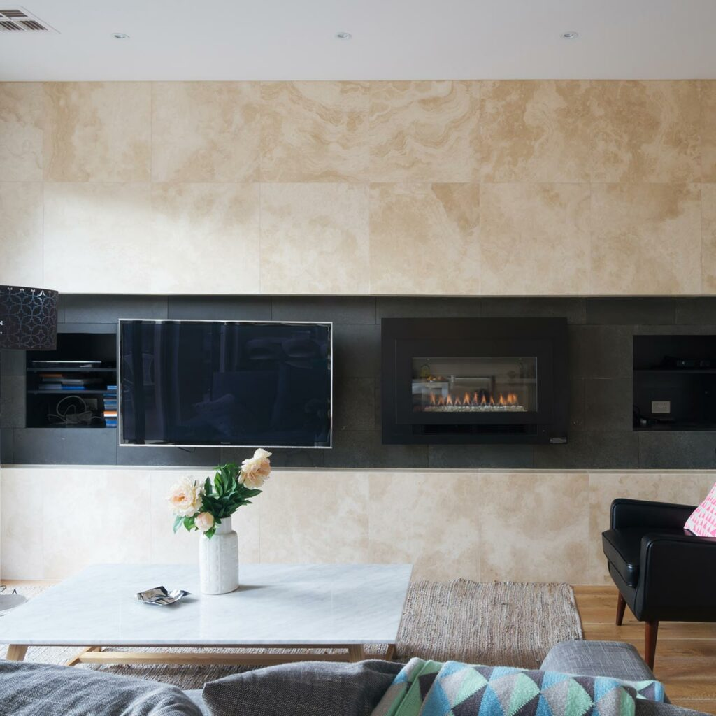 wall mounted tv unit led tv with marble designed on wall design for tv unit
