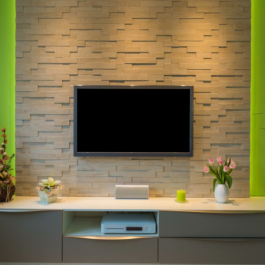 A Textured wall with led tv wall mount for tv showcase design in wall