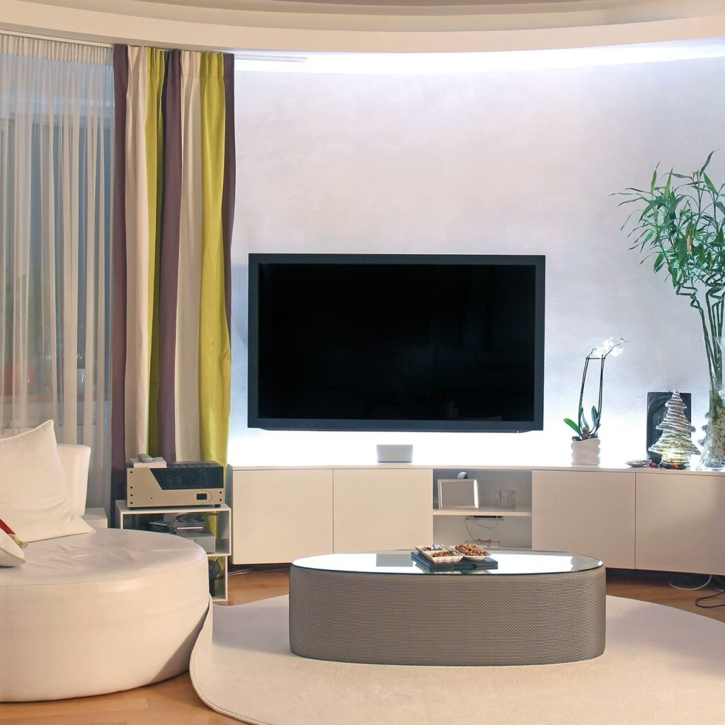TV Wall design idea for living room with built in storage for tv wall unit design