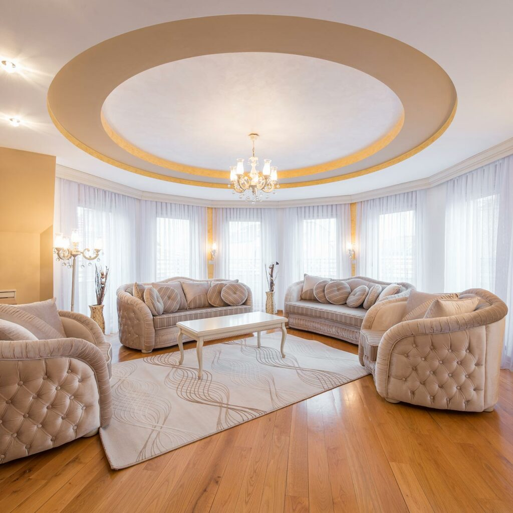 Modern pop ceiling design for main hall blended with vicious circle to provide a simple and elegant false ceiling designs for hall