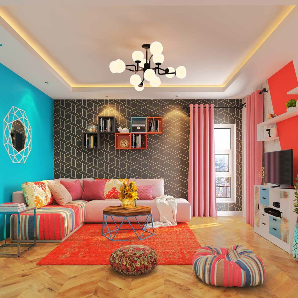 Top Furniture trends of 2019 showcasing Geometric Patterns On Wall and multicoloured striped sofas.