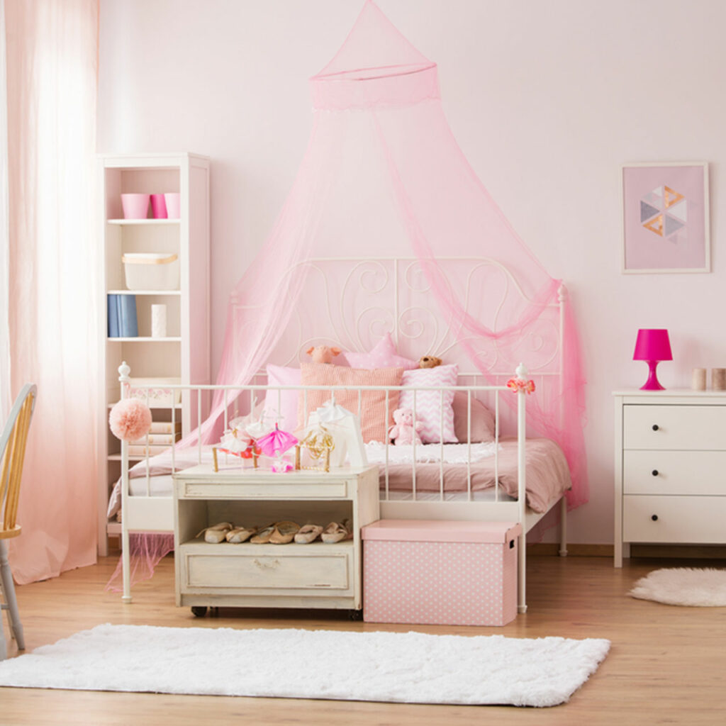 Kids room for girls - Colour your kids bedroom with Power Pastels like Pink, Peach and Mint.