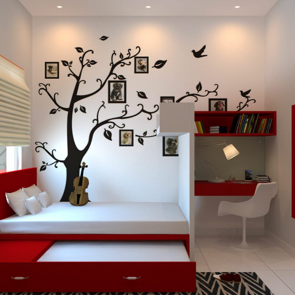 Kids room paint ideas - Paint your Childrens room with colours of warmth like yellow, orange and red.