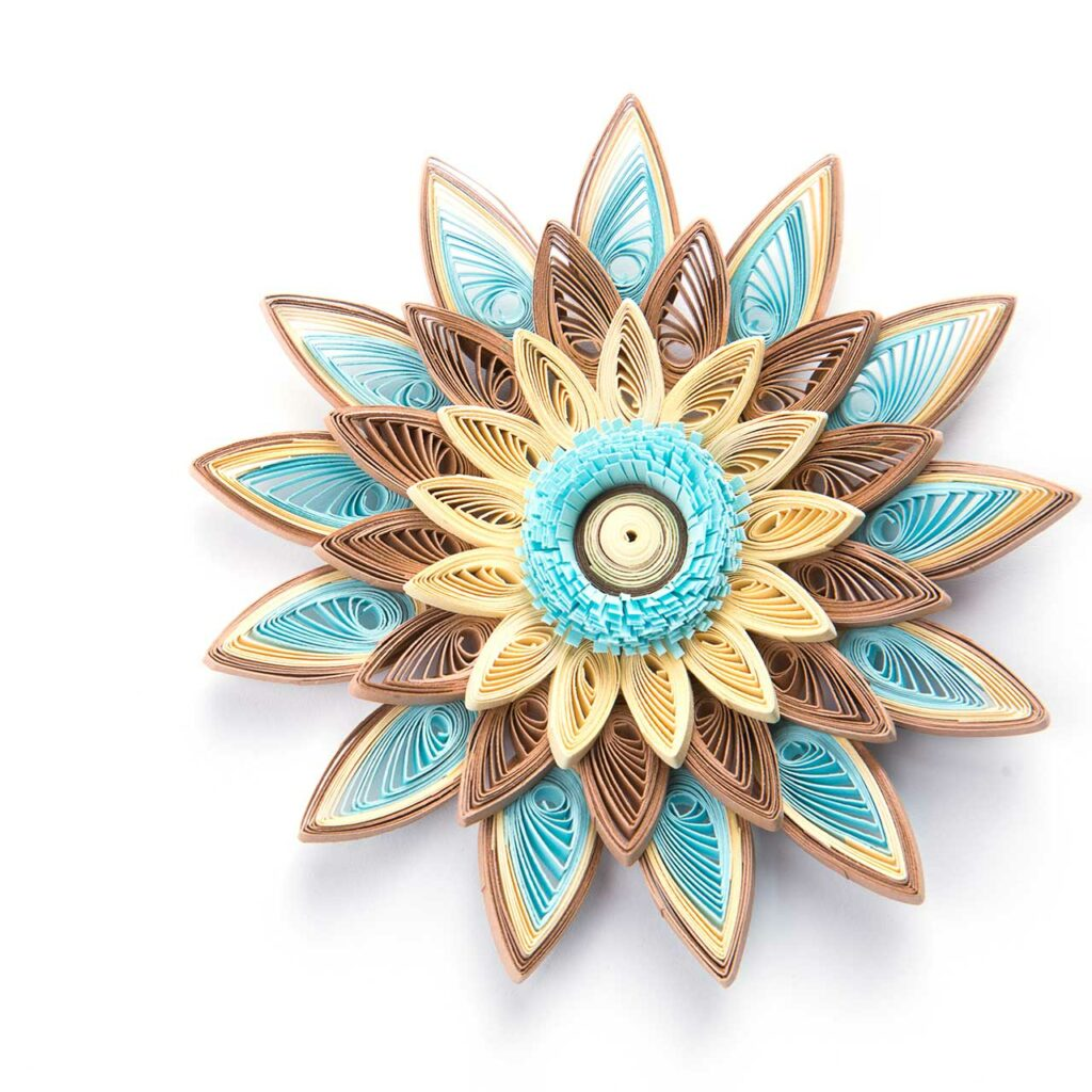 Quilling petals designs using paper crafts to decorate your Diyas.