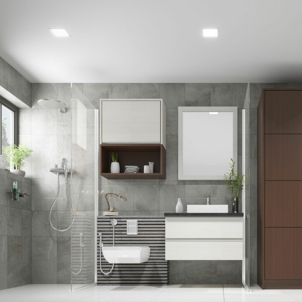 Bathroom organisation ideas for a decent grey bathroom with the right stuff at the right place