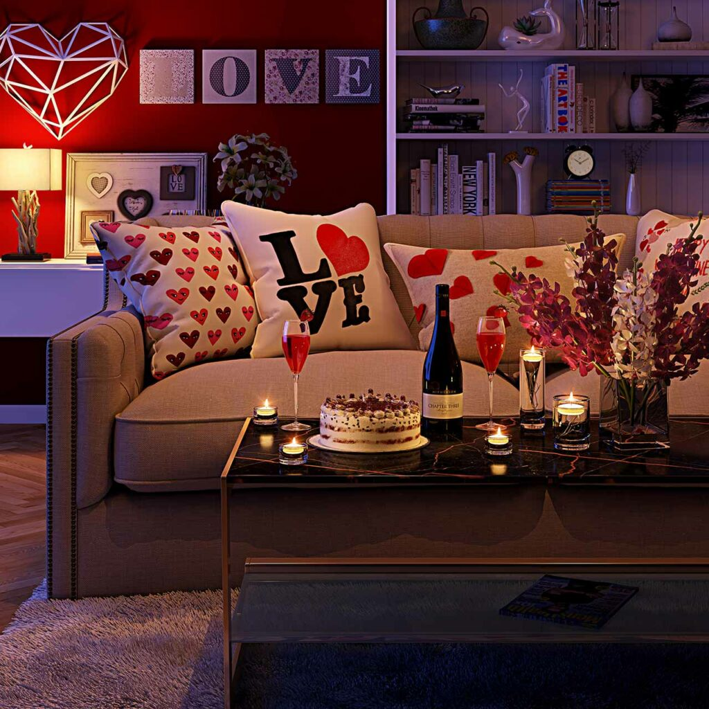 Romantic living room with a center table