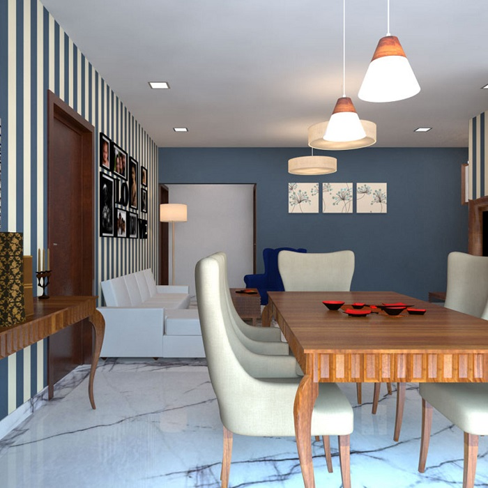 Mid-century living cum dining area designed with traditional patterned white tiles