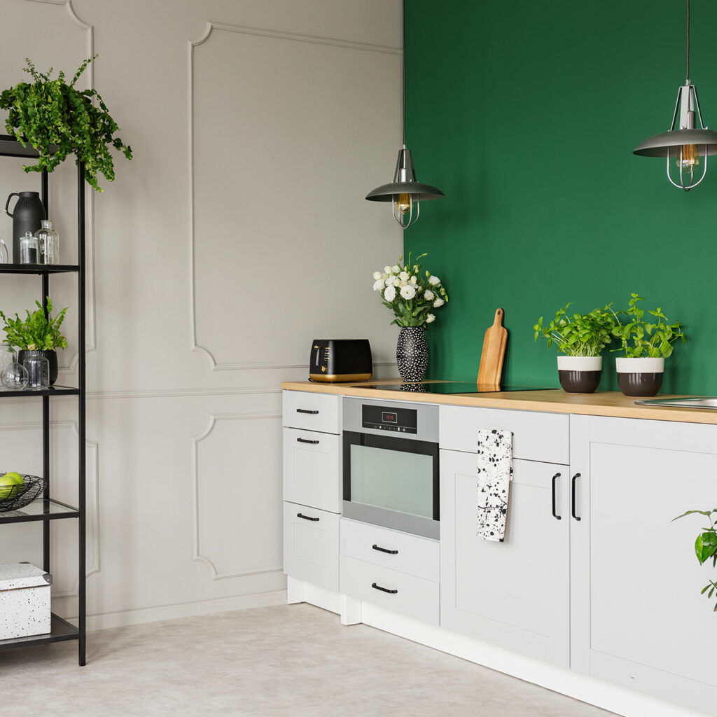 Potted plants on your kitchen countertop is another kitchen hack idea