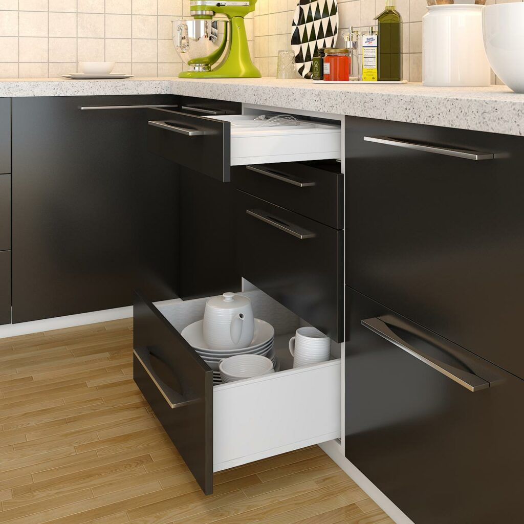 Kitchen hacks, matte finished black kitchen cabinets are in vogue