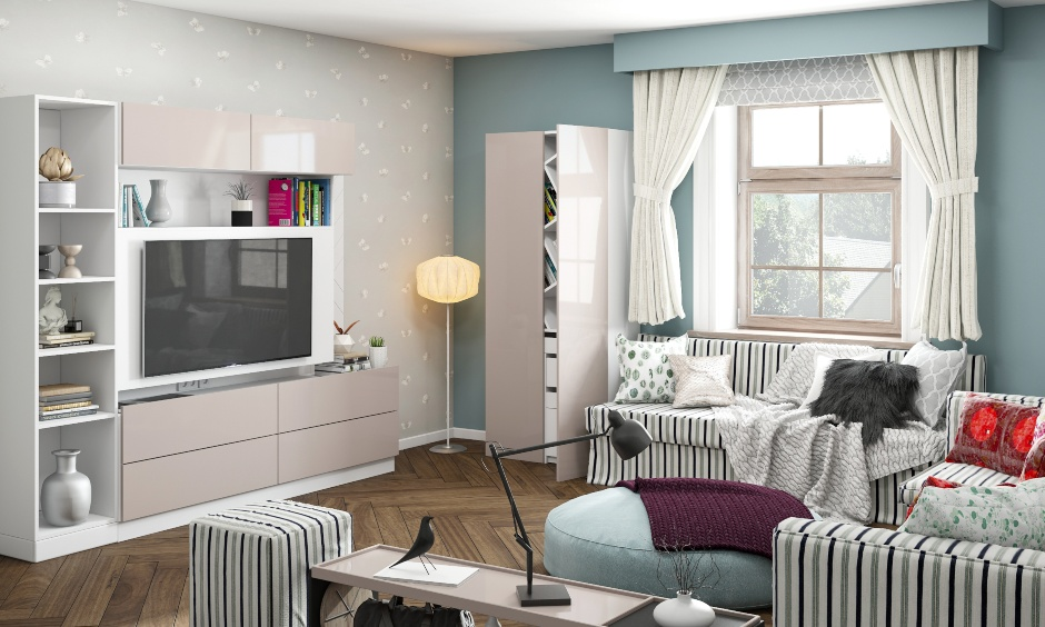 Family friendly small drawing room design with wooden corner designs, beautiful arch, modern sofa, designer table, latest sofa set, modern lcd panel.