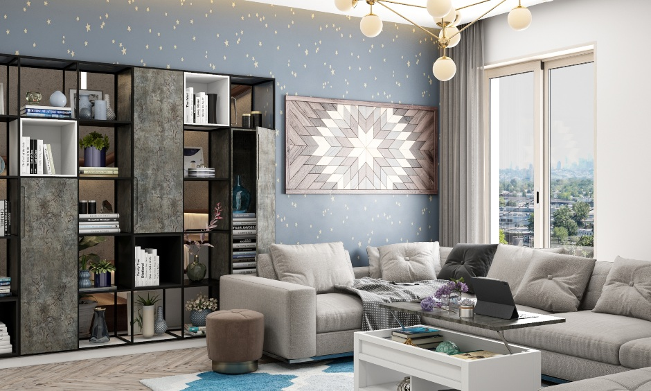 Modern drawing room design with modern false ceiling, latest sofa designs, sleek cupboards, latest furniture, wooden sofas, led panels.