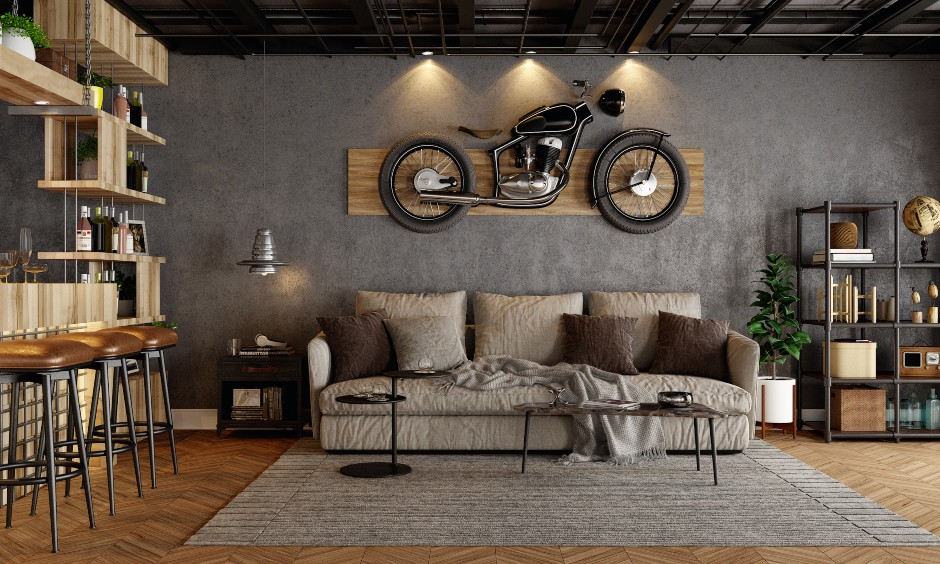 Drawing room wall design and decoration ideas using personalized wall designs and wallpaper designs in India.