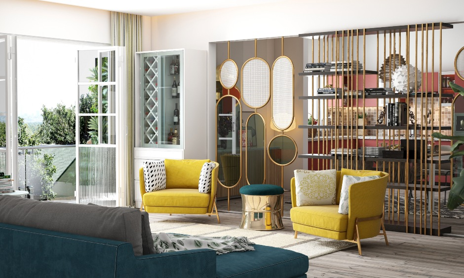 Small drawing room design showing stylish yellow chairs, latest sofa designs, centre table design, arch design, wooden corner designs for drawing room.