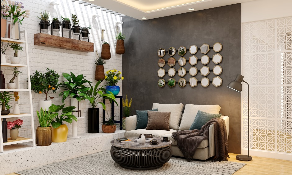 Drawing room design with modern and contemporary interior showcasing colour combinations, and latest sofa designs for small drawing rooms in a flat or apartment