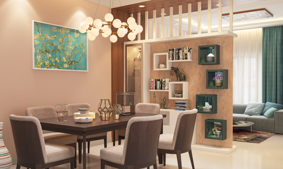 Eclectic style dining room interior design wall shelves, mix of decor, artwork, wall art and bright colours.