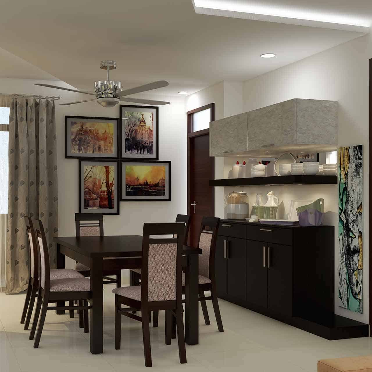 Indian style dining room with ornate geometrics, vibrant colours, and elegant metallic silverware for dining room style