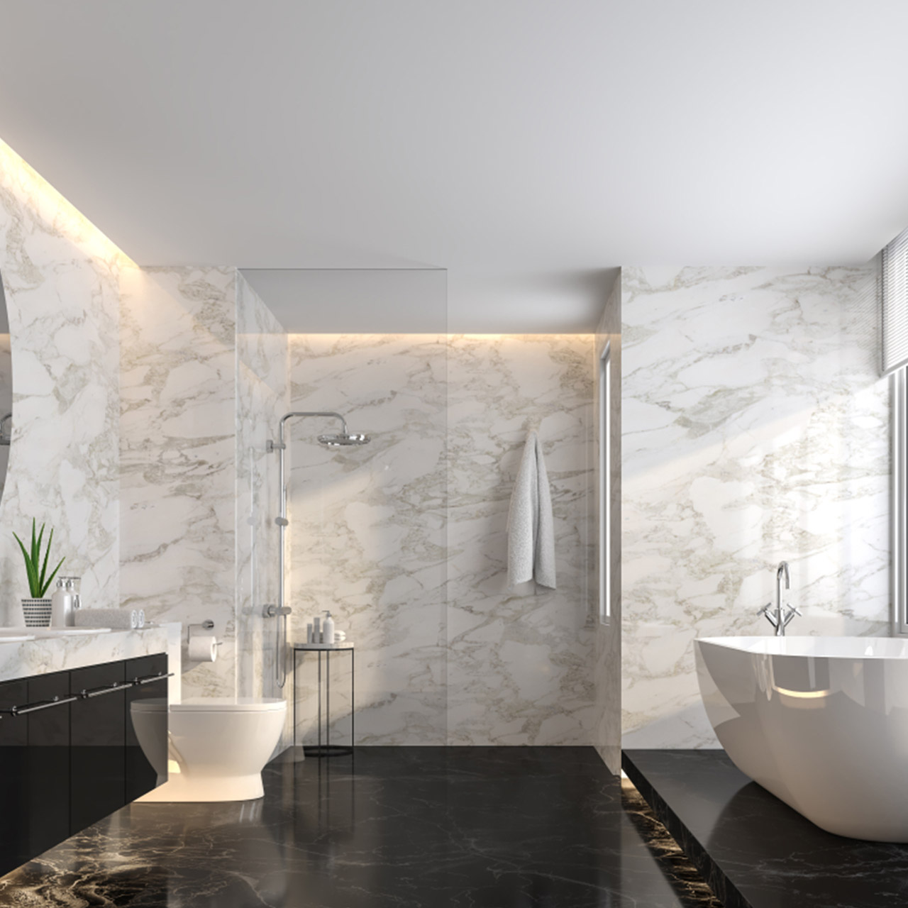 Lighting fixtures and elements for penthouse bathroom design