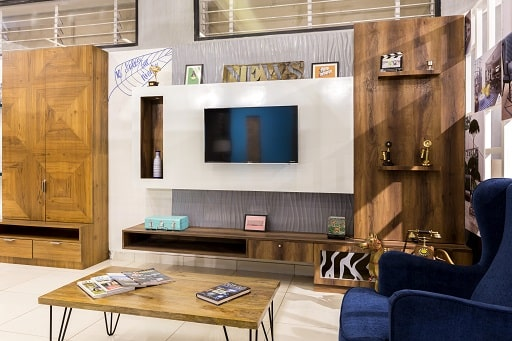 7 Living Room Concepts with TV unit storage designs are available at Design Cafe Bangalore Experience Centre.