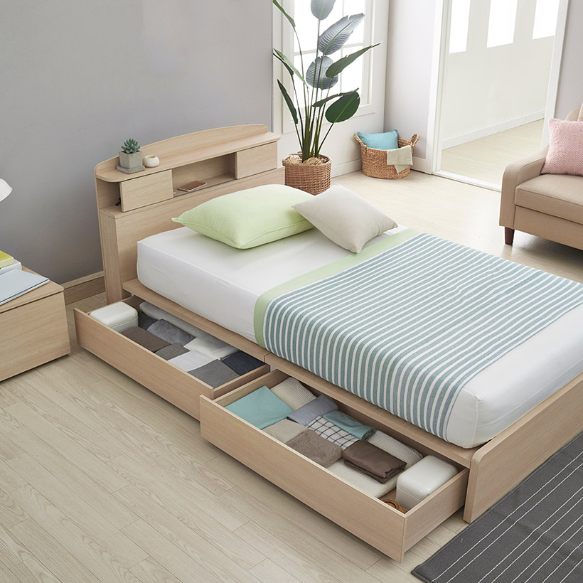 Small bed with much storage space for small homeowners bedroom interior design, its a best space saving idea for small bedroom